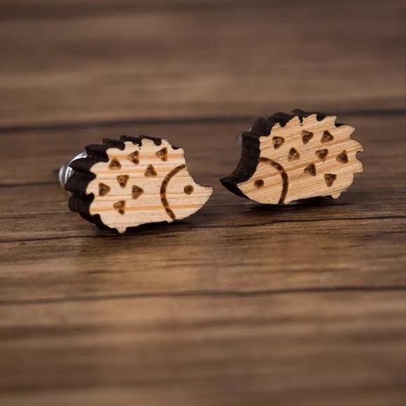 Jewelry - 🎉 Wood Hedgehog Stainless Steel Earrings